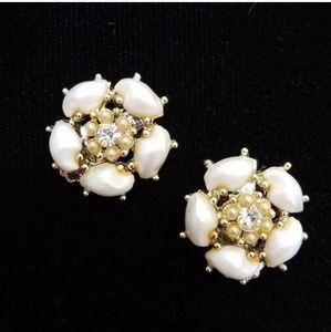 VTG Goldtone Faux Pearl Rhinestone Clip Earrings